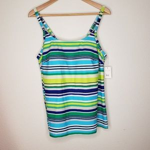 Coco's Swim Blue Green Stripe Tankini